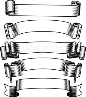 285x320 Four Black And White Old Ancient Scroll Stock Vector Colourbox
