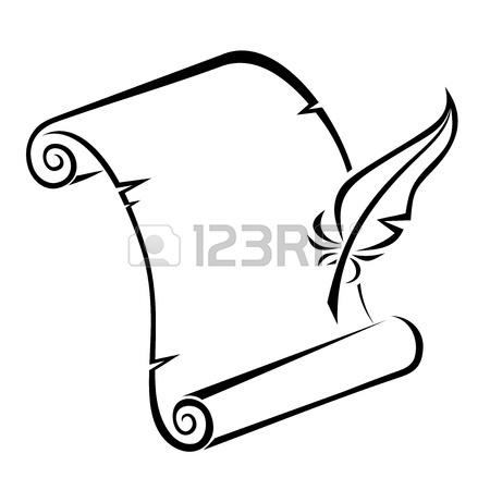 450x450 Black Silhouette Of Paper Scroll And Feather Pen Vector