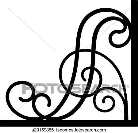 450x434 Clipart Of , Border, Bracket, Corner, Iron, Scroll, Wrought