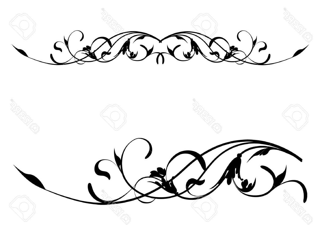 1300x908 Unique Vector Retro Floral Scroll Pattern Stock Swirls Border Image
