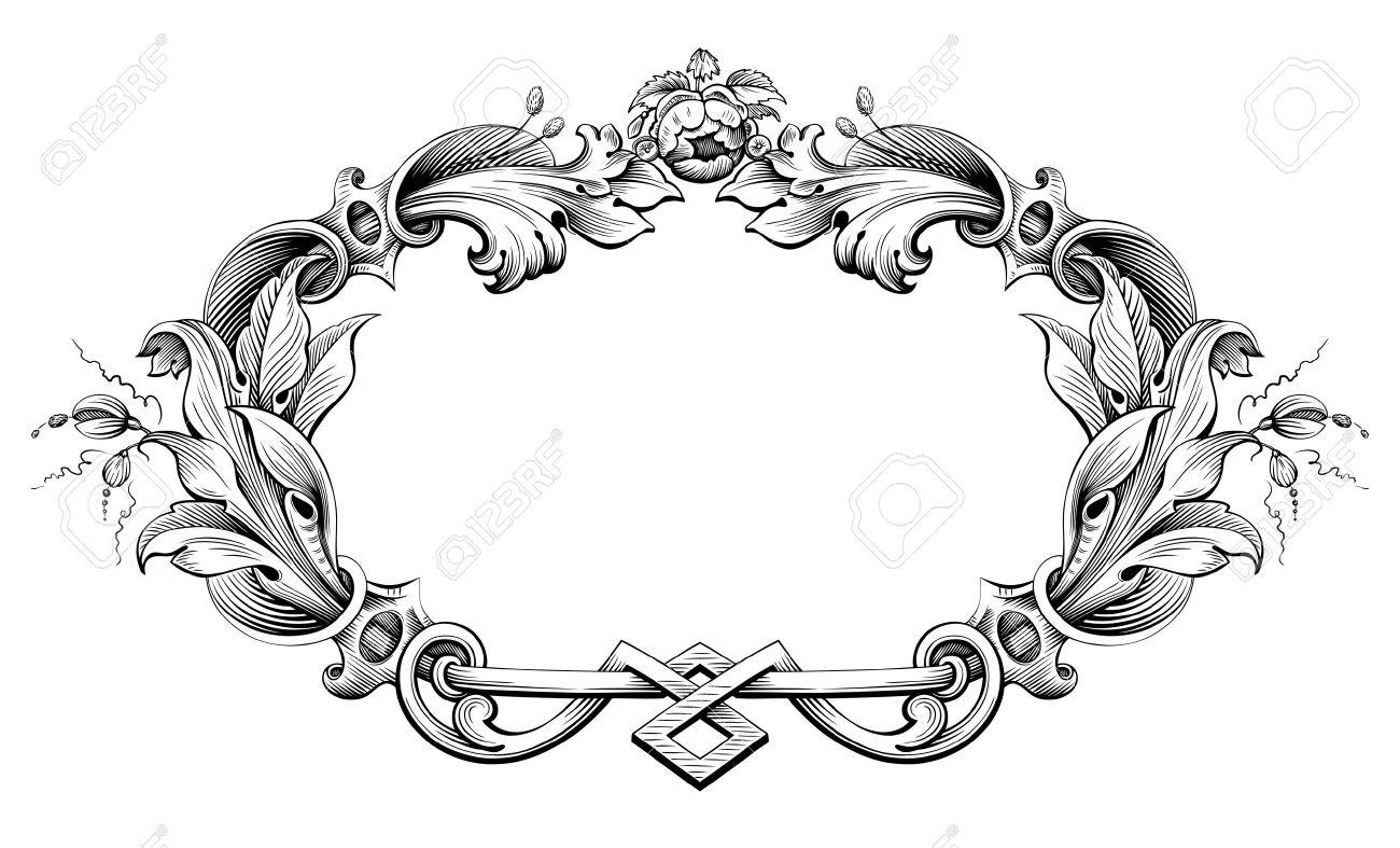 1300x787 Vintage Baroque Victorian Frame Border Monogram Floral Ornament