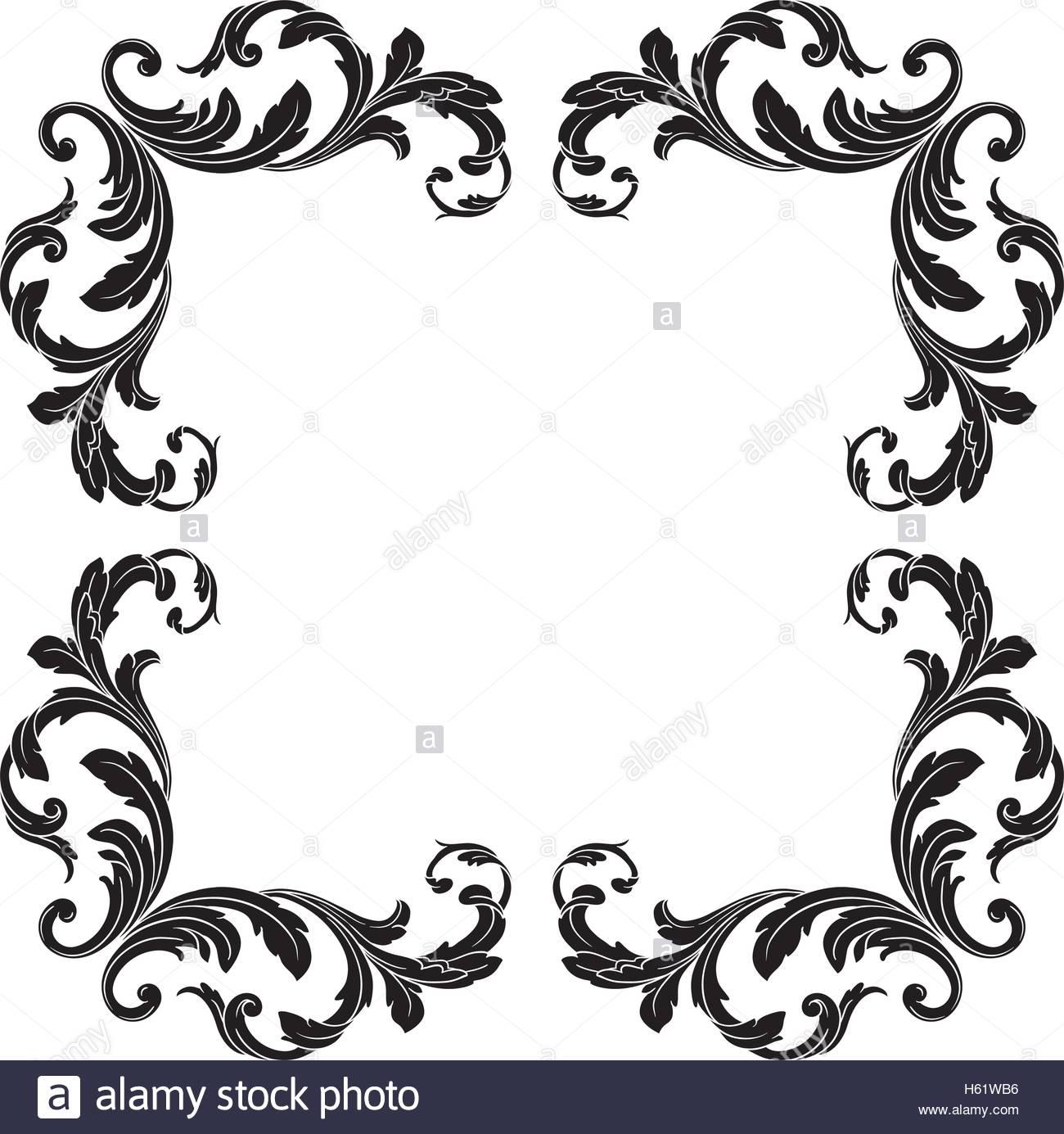 1300x1385 Vintage Baroque Frame Scroll Ornament Engraving Border Floral
