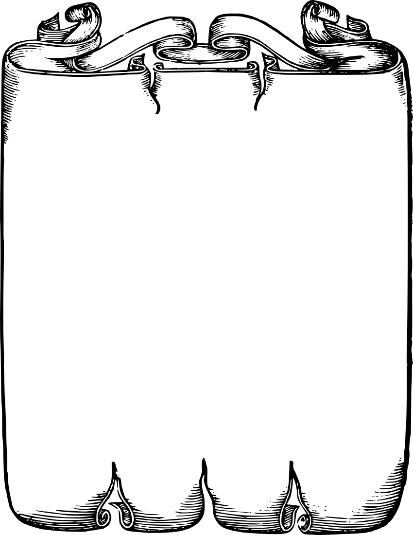 850x1100 Scroll Border Clipart