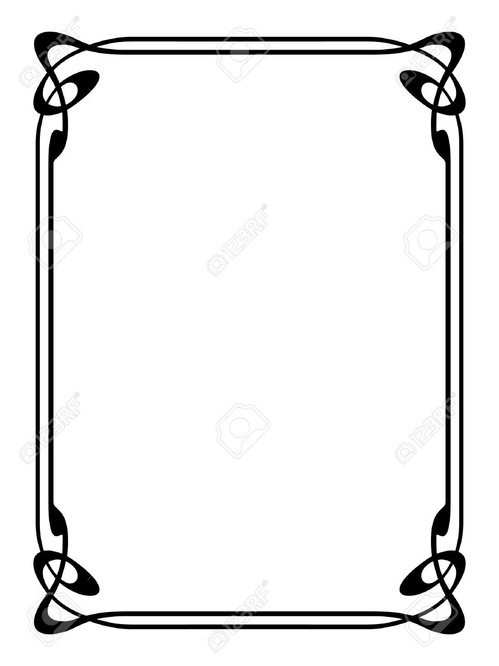 Frame Design Line Art : Scroll border designs free download best