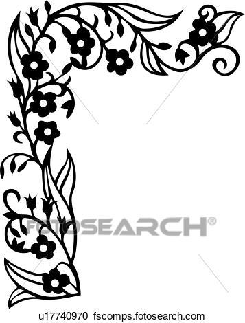 357x470 Clipart Of , Border, Corner, Floral, Scroll, Vine, U17740970