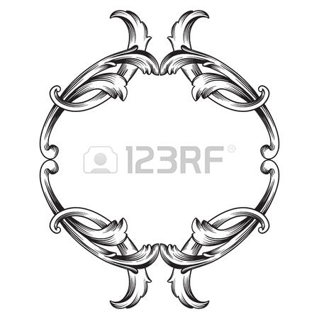 450x450 Vintage Baroque Frame Scroll Ornament Engraving Border Floral