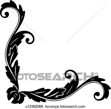 450x442 Clip Art Of , Antique, Border, Corner, Flourish, Flourishes