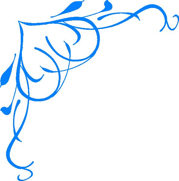 588x595 Blue Flower Clipart Blue Scroll