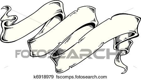 450x257 Clip Art Of Triple Word Scroll K6918979