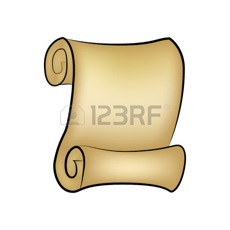450x450 Paper Scroll Clip Art Isolated On White Background. Empty, Blank
