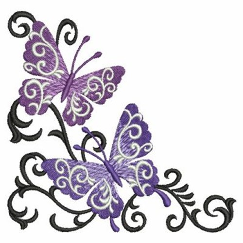 500x500 Butterfly Scroll Corner Embroidery Designs, Machine Embroidery