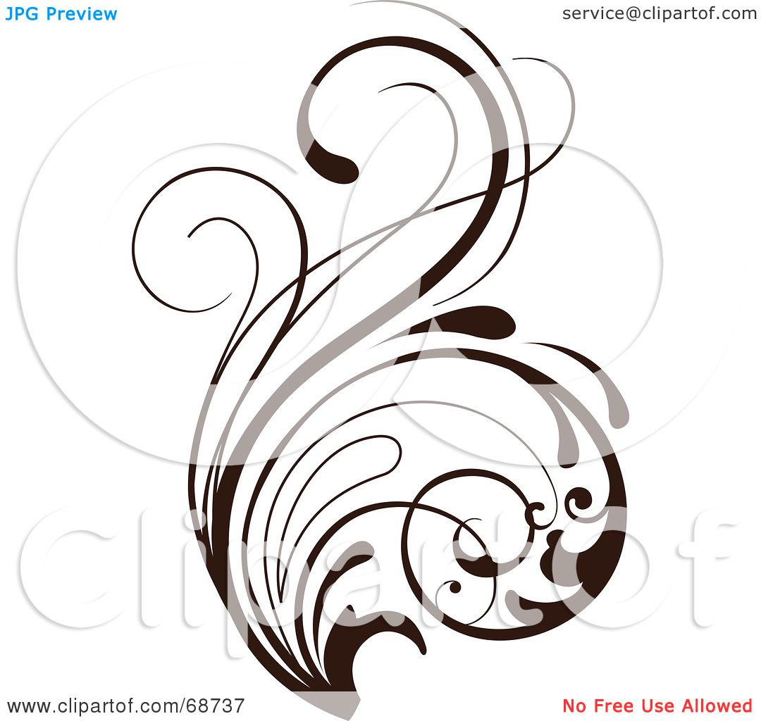 1080x1024 Royalty Free (Rf) Clipart Illustration Of A Dark Brown Floral
