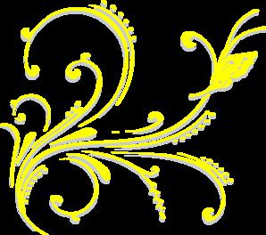 298x264 Butterfly Scroll Yellow Clip Art