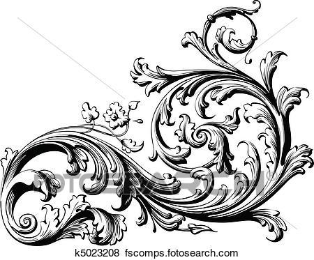 450x373 Clip Art Of Floral Scroll K5023208