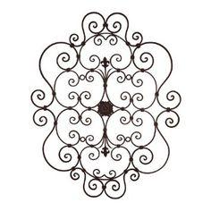 236x236 Wall Art Design Ideas Brown Wooden Wrought Iron Scroll Wall Art
