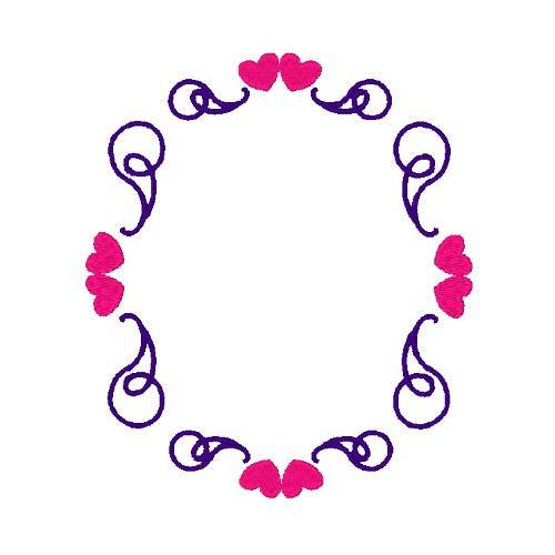 500x500 Heart Scroll Frame Machine Embroidery Design Frame Embroidery