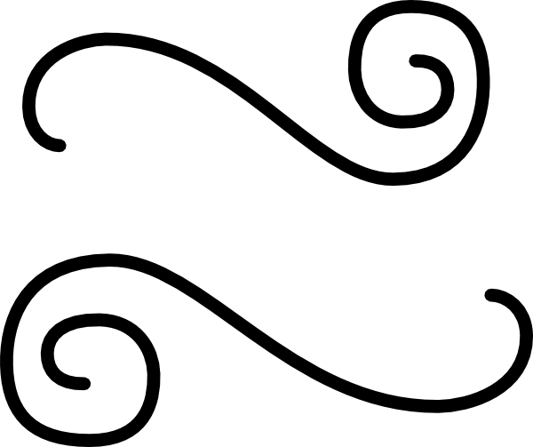 600x503 Black Double Scroll Flourish Clip Art