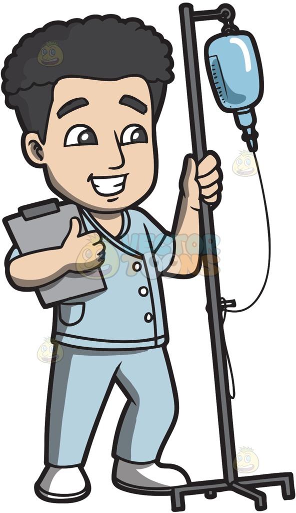 592x1024 A Male Nurse In Scrubs Holding A Clipboard Male Nurse