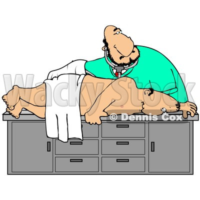 400x400 Illustration Of A White Male Medical Doctor In Scrubs, Bending