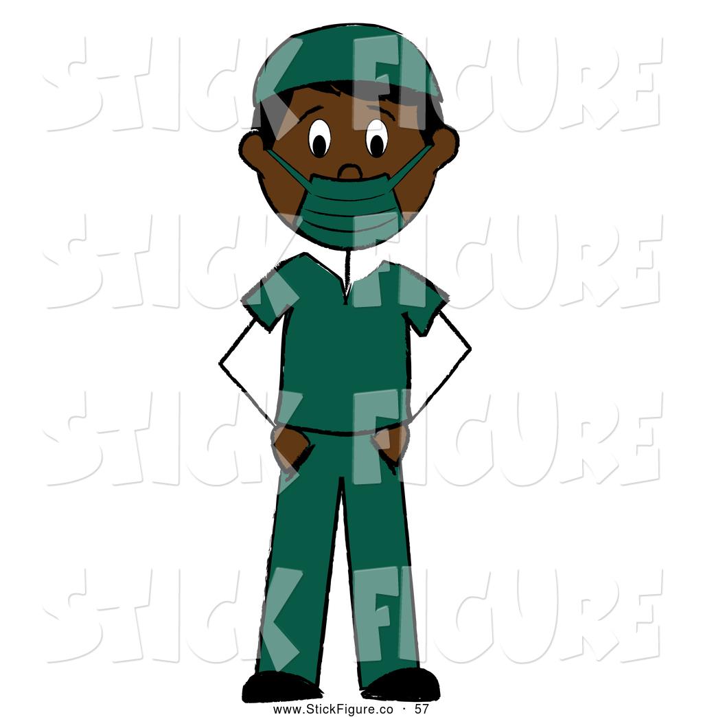 1024x1044 Clip Art Of A Black Stick Man Surgeon In Green Scrubs