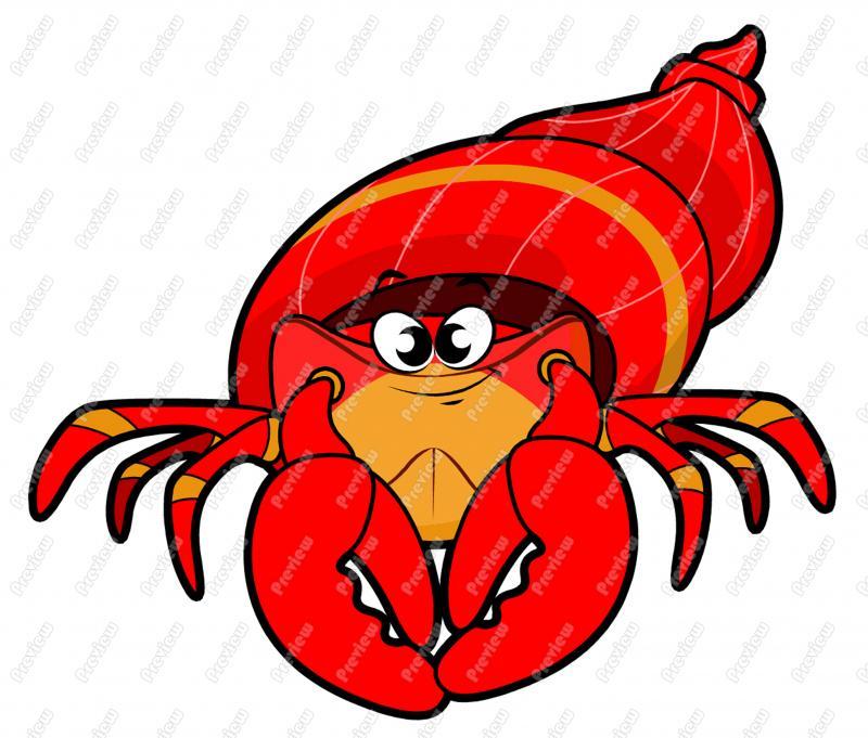 800x681 Hermit Crab Character Clip Art