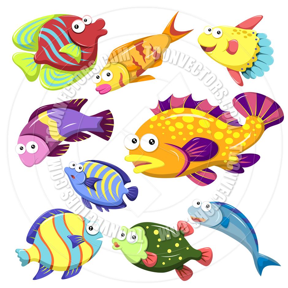 940x940 Cartoon Sea Creatures Collection By Toon Vectors