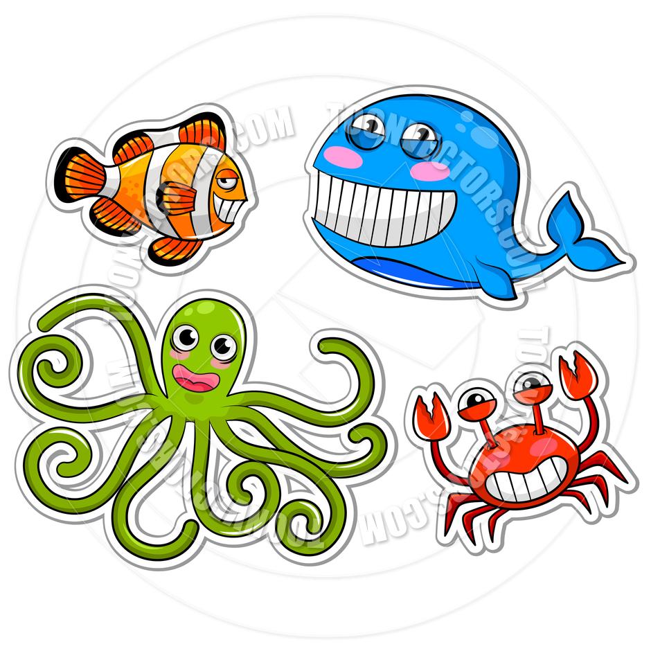 940x940 Cartoon Sea Creatures By Ayelet Keshet Toon Vectors Eps