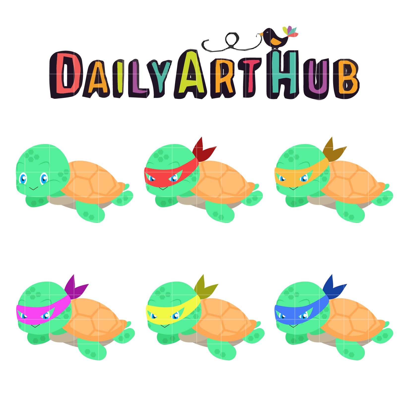1650x1650 Cute Ninja Turtle Clip Art Set Daily Art Hub
