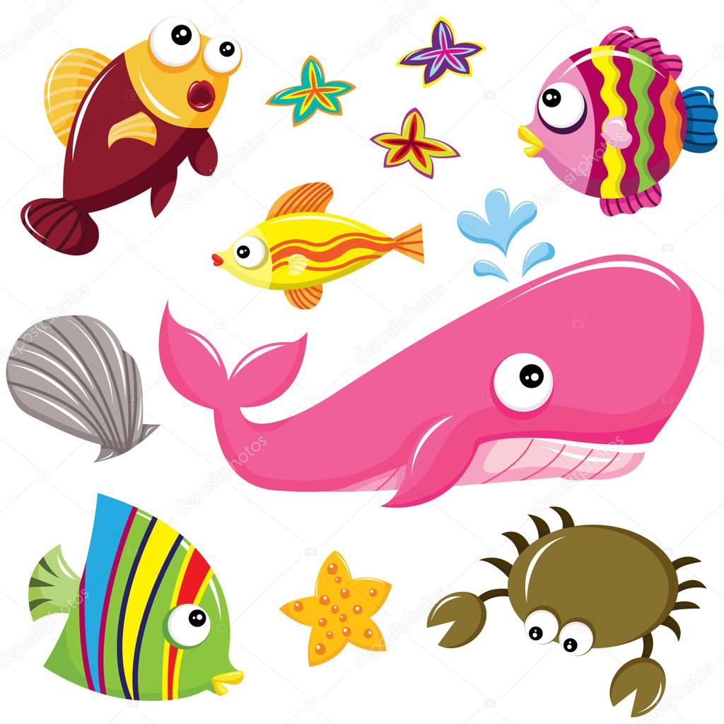 1024x1024 Cute Underwater Sea Creatures Stock Vector Jason Lsy