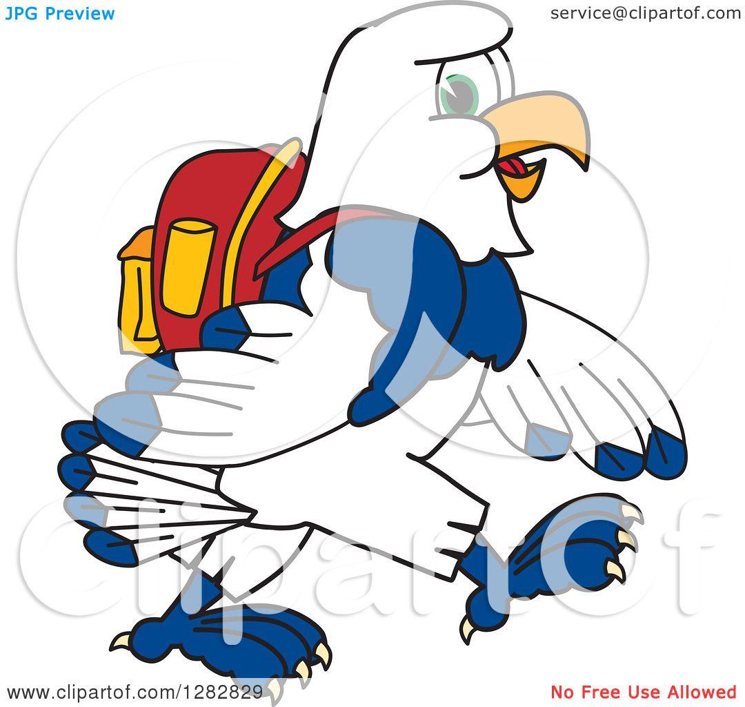 1080x1024 Clipart Of A Happy Seahawk School Mascot Character Student Walking