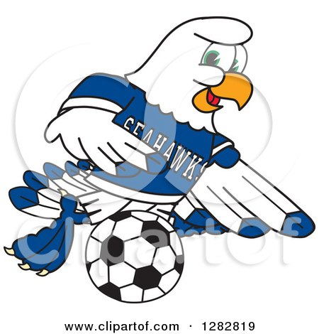 450x470 Clipart Of A Happy Seahawk Sports School Mascot Character Playing