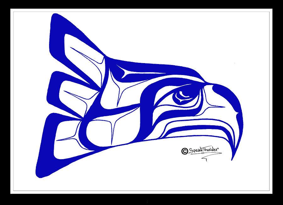 900x653 Salish Seahawks Logo Drawing By Speakthunder Berry