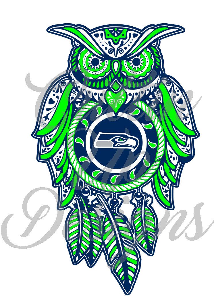 745x1053 Seattle Seahawks Dreamcatcher Owl Sugar Skull Svg Cutting File