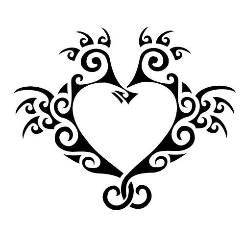 500x500 Seahorse Tattoo Heart Design