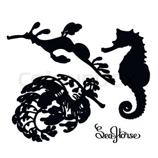 320x320 Graphic Vector Seahorse Drawn In A Line Art Style. Ocean Creature