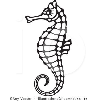 400x420 Black Clipart Seahorse