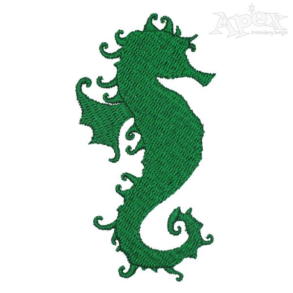 600x600 Seahorse Silhouette Embroidery Design
