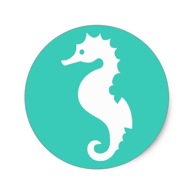 630x630 White Seahorse Silhouette On Turquoise Classic Round Sticker