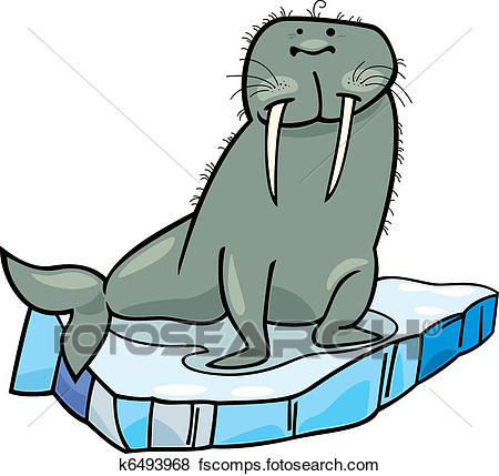 450x429 Clip Art Of Cartoon Walrus On Floating Ice K6493968
