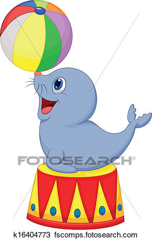 297x470 Clipart Of Circus Seal Cartoon Playing A Ball K16404773