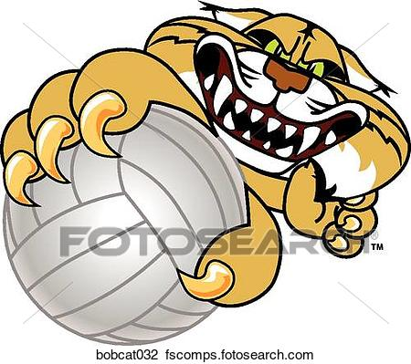 450x399 Clip Art Of Bobcat Holding Volleyball With Angry Face Bobcat032