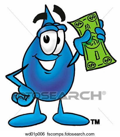 411x470 Clip Art Of Water Drop With Money Wd01p006