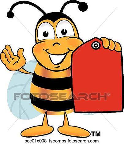 405x470 Clip Art Of Bee With Price Tag Bee01x008