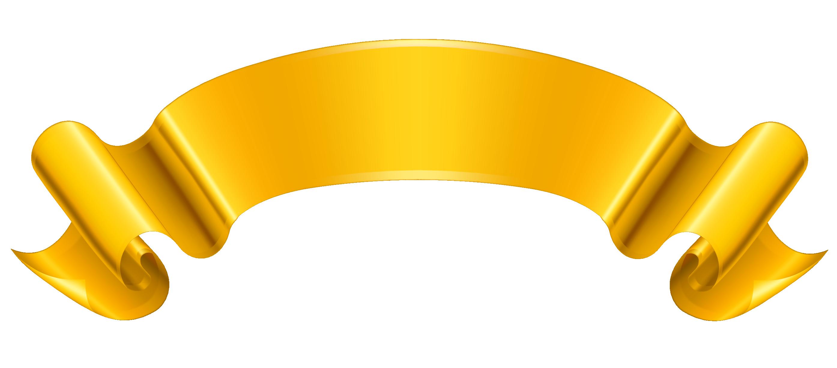 2788x1226 Gold Ribbon Clipart