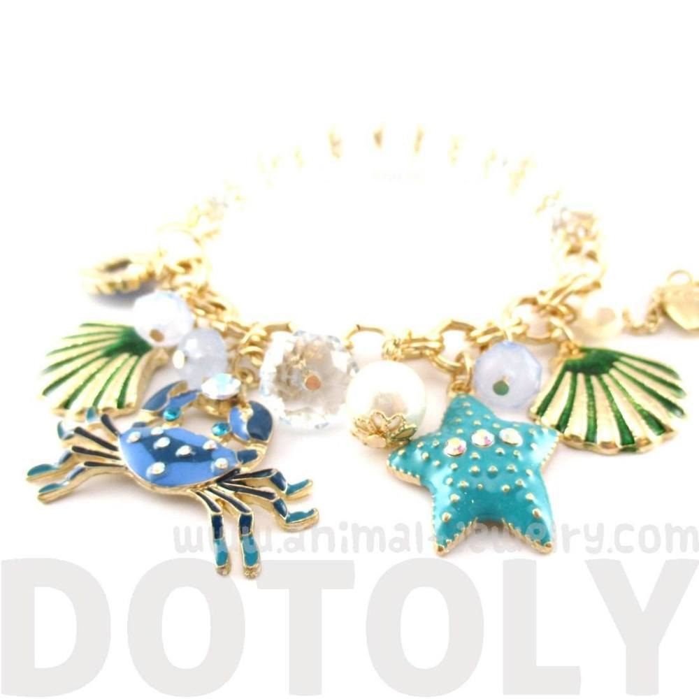 1000x1000 Blue Crab Starfish Jewels Of The Sea Charm Bracelet Dotoly
