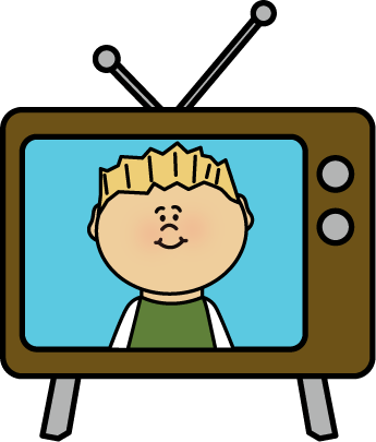 345x405 Kid On Television Clip Art
