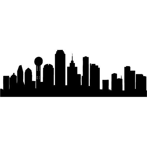 501x501 Dallas Skyline Silhouette Medium Vinyl Wall Decal By Wallstickz