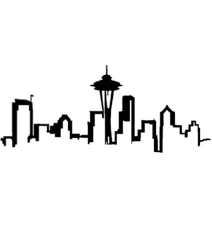 424x504 Seattle Skyline Outline Clipart
