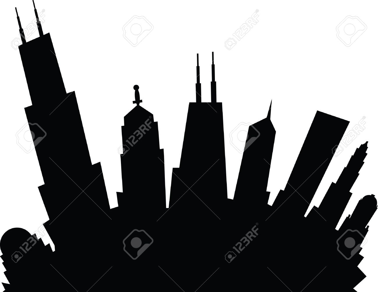 1300x1005 855 Chicago Skyline Stock Illustrations, Cliparts And Royalty Free