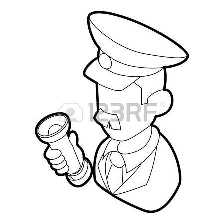 450x450 Museum Security Guard Icon In Outline Style On A White Background